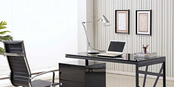 Great Modern Glass Office Desk With Clean Chocolate Ceramic Floor Tile Background Paired With Modern Black Office Desk Also Swivel Chair Set In Front Of Glass Wall