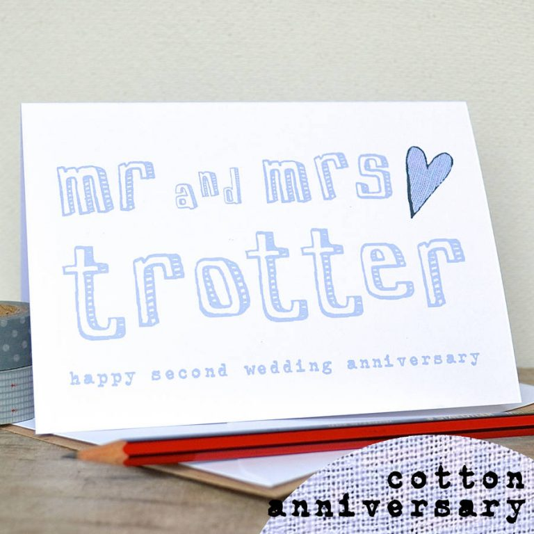 Nice Cotton Wedding Anniversary With Original Personalised Second Wedding Anniversary Card