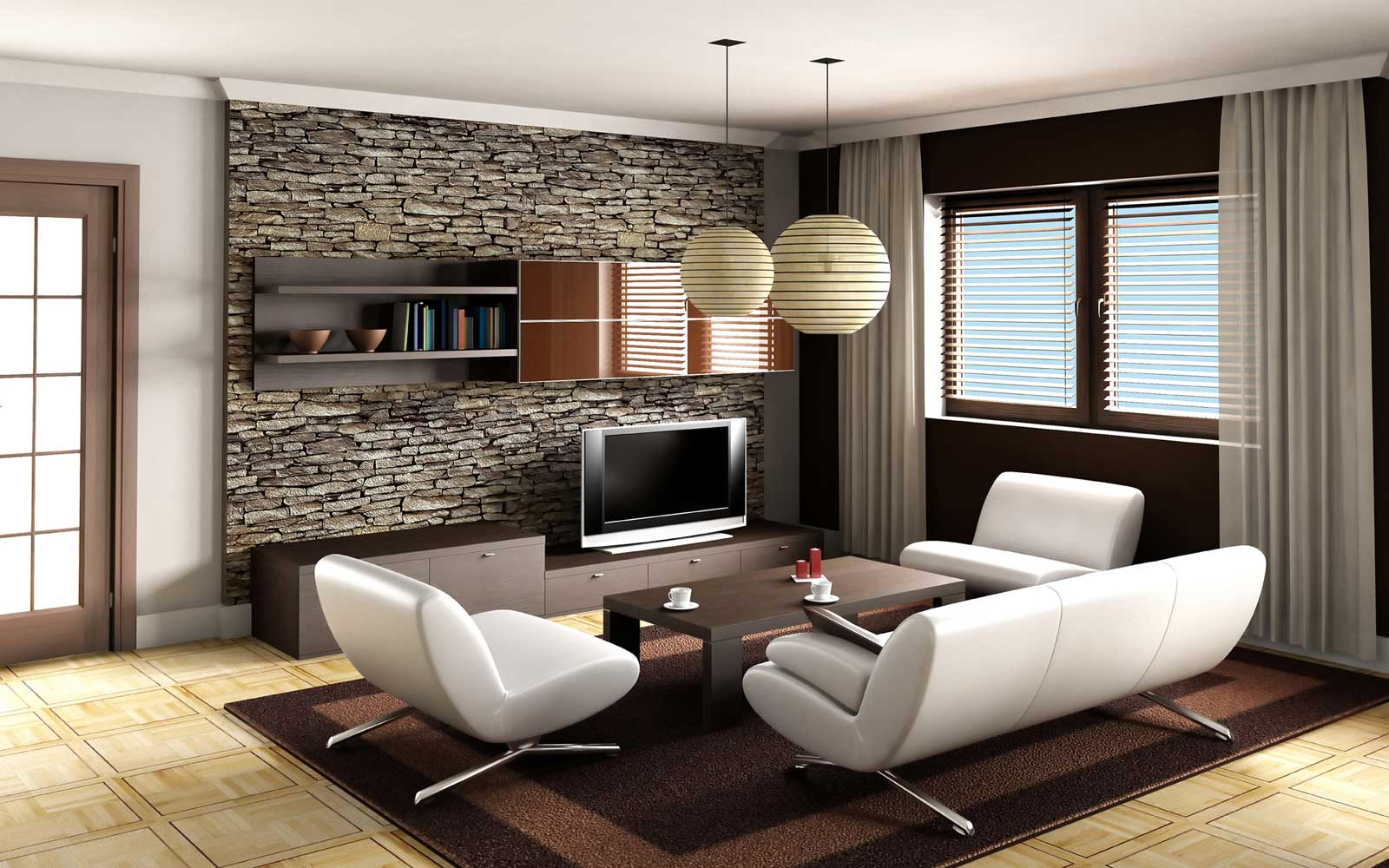 Beautiful Living Room Ideas Decor With Living Room Decor Ideas With Modern Design Using White Sofa And Stone Wall Decoration Completed With Wooden TV Cabinet
