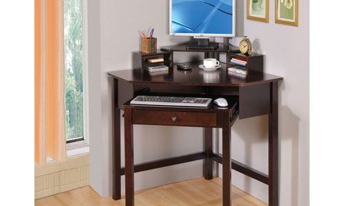 Brilliant Desks For Home With Cappuccino Small Corner Desk With One Drawer And Roller Small Corner Desk Ideas