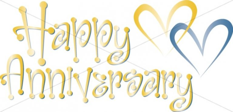 Trend Wedding Anniversary Clipart With Cute Blue And Gold Happy Anniversary Wordart Wioth Hearts Clipart