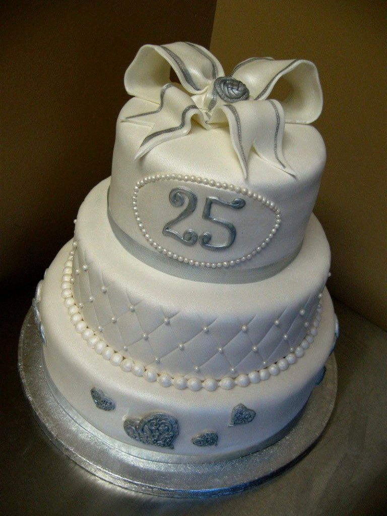 Awesome Ideas For 25th Wedding Anniversary With Silver Wedding Cake Decorating Ideas Silver Wedding Cakes Ideas