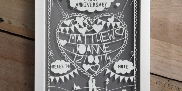 Good 1st Year Wedding Anniversary With Original Personalised First Anniversary Papercut