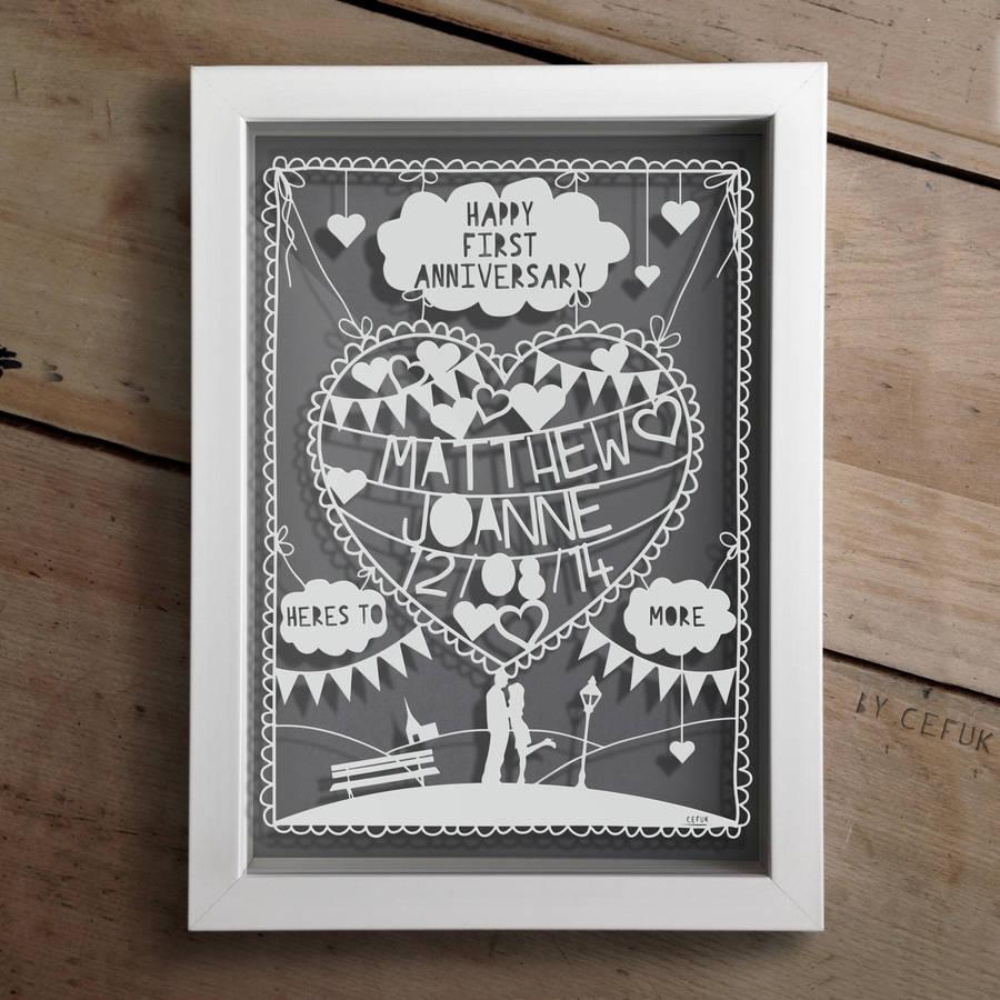 Good 1st Year Wedding Anniversary With Original Personalised First Anniversary Papercut