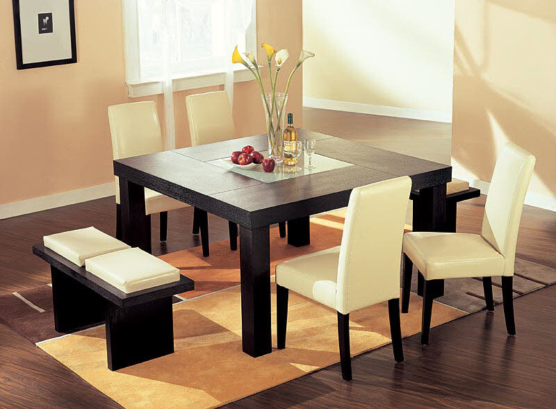 impressive dining table decorating ideas with modern simple and stylish dining room with flowers on glass vase as centerpiece on the black dining table and - Dining Table Design Ideas