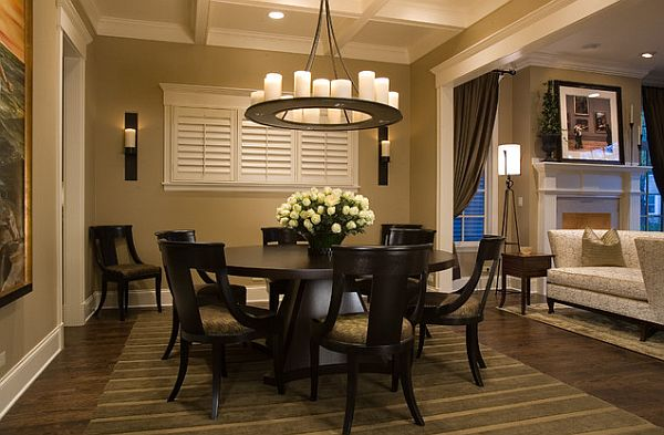 Popular Round Table Dining Room Sets With All Black And Chairs