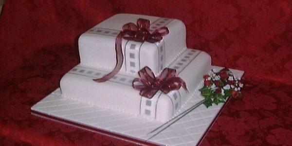 Two Tier Square Ribbon Wedding Cake