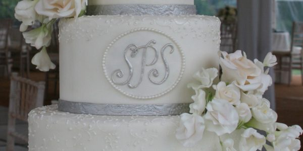 Custom Monogram Wedding Cake