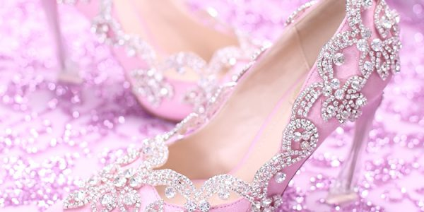 Sweet Pink Wedding Shoes With Crystal Ultra High Heels Pointed Toe Rhinestone Shoes