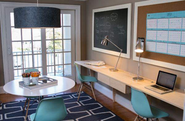 Great Cool Home Office Design With Eames Molded Plastic Cairs In Blue Add  Cool Accent Color