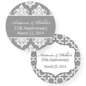 Custom 25th Wedding Anniversary Favors With Silver Wedding Anniversary Personalized Round Label