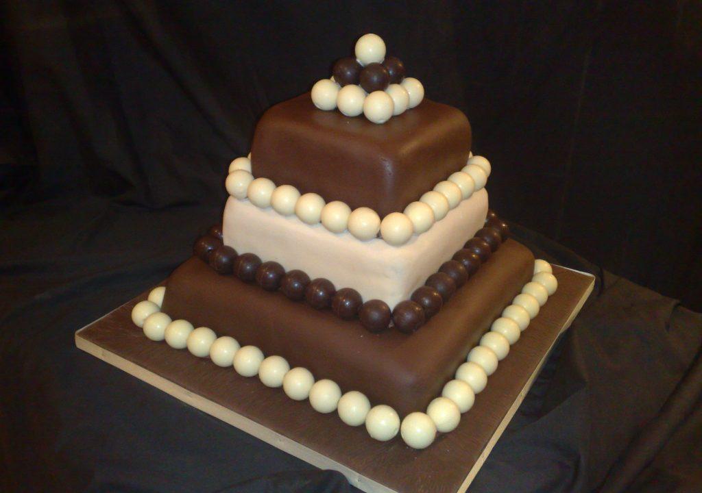 Square Chocolate Truffle Wedding Cake