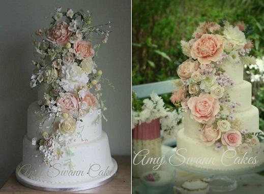 Sugar Flowers Wedding Cake
