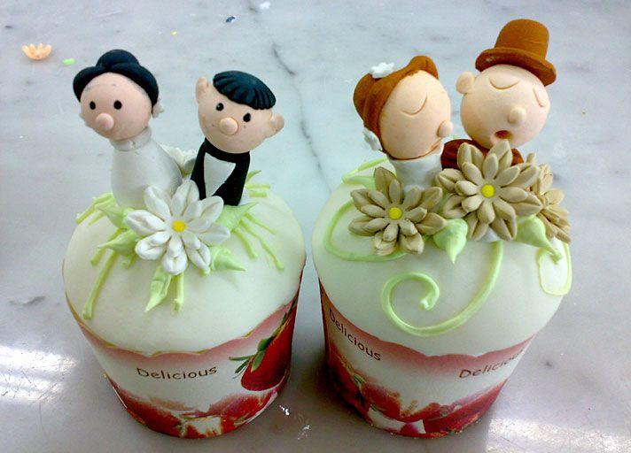 Cartoon Character Wedding Cupcake