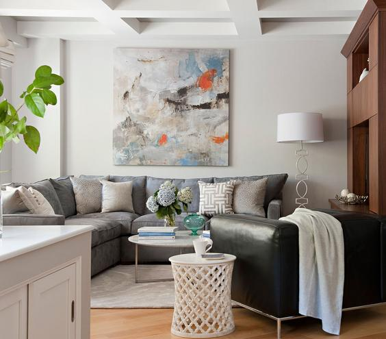Simple Small Living Room Decor Ideas With Small Living Room Decor Ideas Best Layout Parquete Floor Gray Fabric Sofa White Round Wooden Coffee Table Potted Plants Abstract Painting Shade Lamp