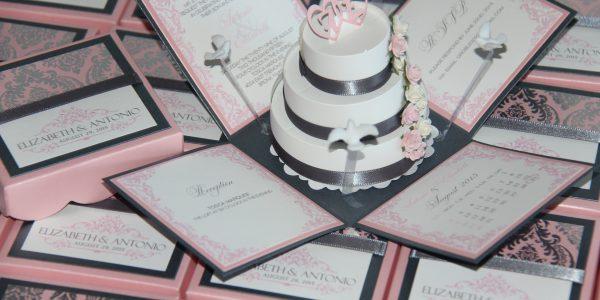 3D Pop-Up Cake Wedding Invitation