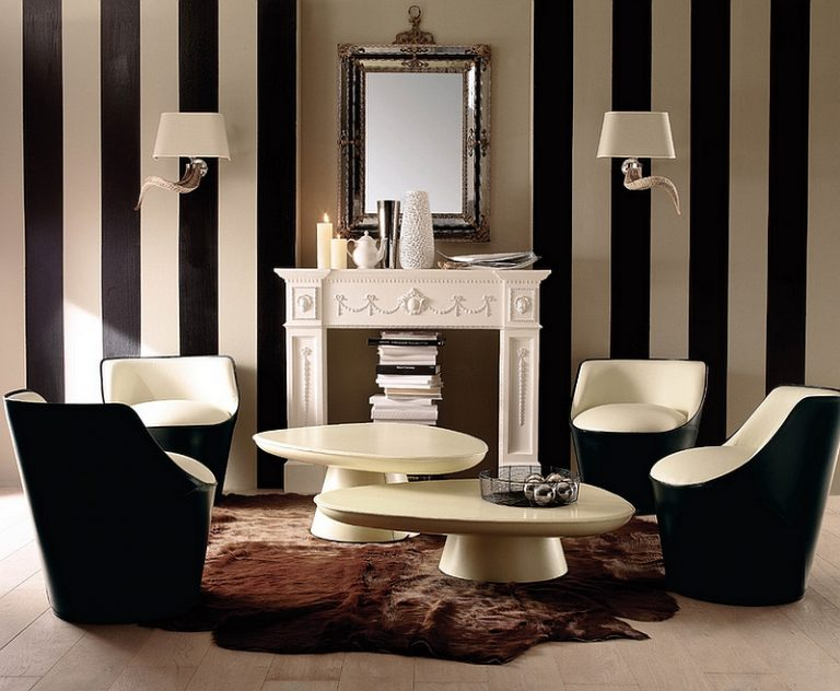 Great Black And White Interior Design Ideas With Combining A Traditional Design Style With Trendy Additions Like Vertical Black And White Stripes