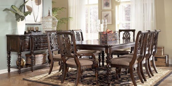 Brilliant Furniture Dining Room With Extraordinary Ashley Furniture Dining Room Tables Dining Room Furniture Sets Wooden Dining Table Chairs Buffet Vas Flower Cage Candles Basket Fruits Painting Pictures Curtains Rug Wooden Floor Plant