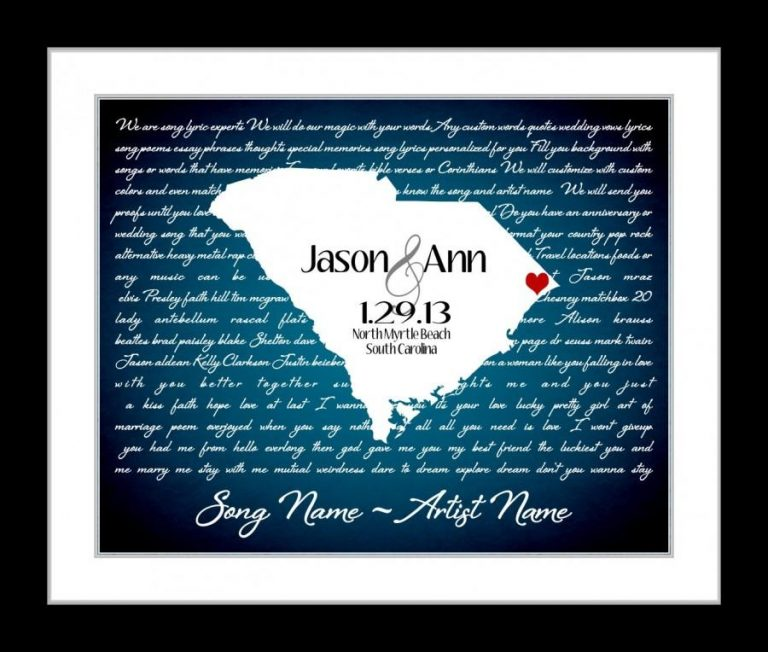 Nice Wedding Anniversary Dance Songs With Custom Wedding Gift First Dance Lyrics Anniversary Gift Ideas Love State Map Any Song I Wanna Love You Lyric Gift Wall Art Print