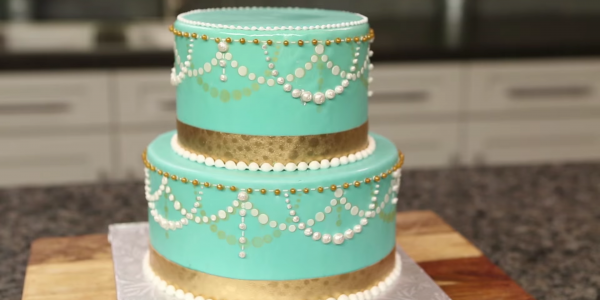 Full Of Pears And Ribbon Wedding Cake
