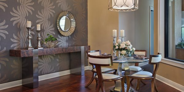 Nice Dining Room Table Decorating Ideas With Captivating Dining Room Table Decorating Ideas Modern Dining Room Ideas Glass Dining Table Four Chairs Candles Mirror Vas Flowers Plant Bowl Napkins Brown Lamp Wall Wooden Floor