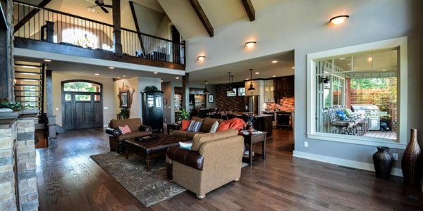 Cool Open House Floor Plans With Asheville Mountain Vaulted Open Living Room Max Fulbright Rustic