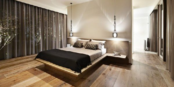 Luxury Modern Bedroom Ideas With Modern Bedroom Design Of Black Curtain Closed Glass Window Inside Contemporary Bedroom Igns With Simple Double Bed And Nice Lighting Plus Wooden Floor Under Plain Ceiling