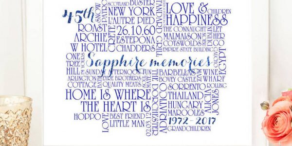 Simple 45th Wedding Anniversary Colors With Original Personalised Sapphire Wedding Anniversary Print