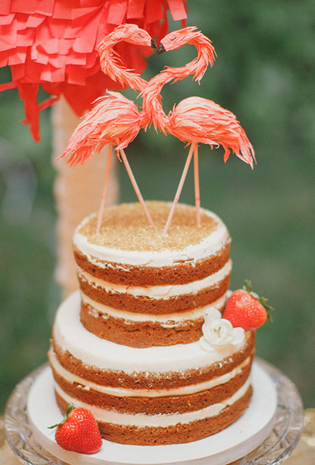 Small Original Naked Wedding Cake with Swans