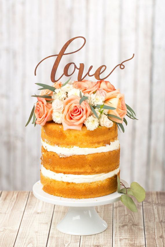 Small Original Naked Wedding Cake Love Typography