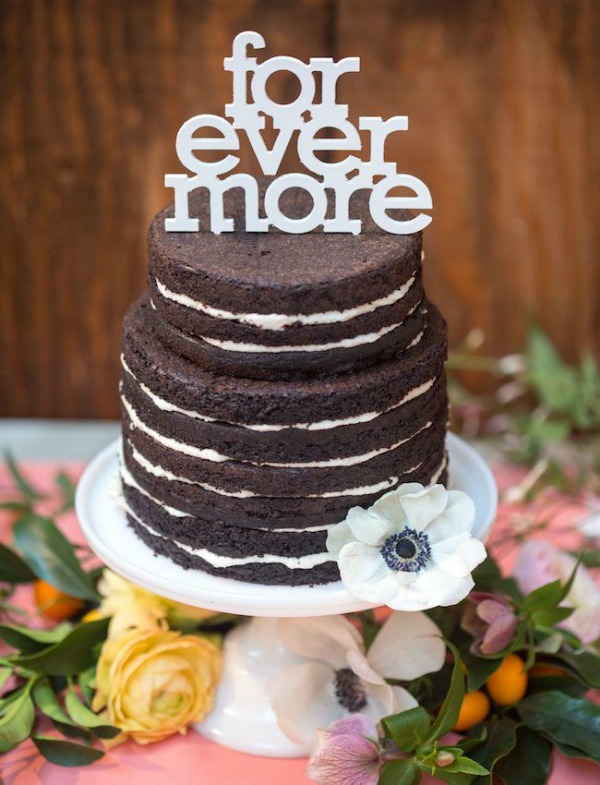 Small Chocolate Naked Wedding Cake Forever More Typography