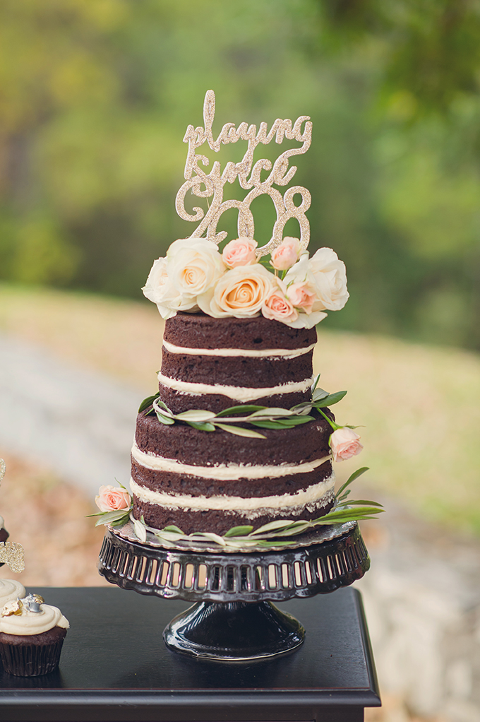 Small Chocolate Naked Wedding Cake White Typography