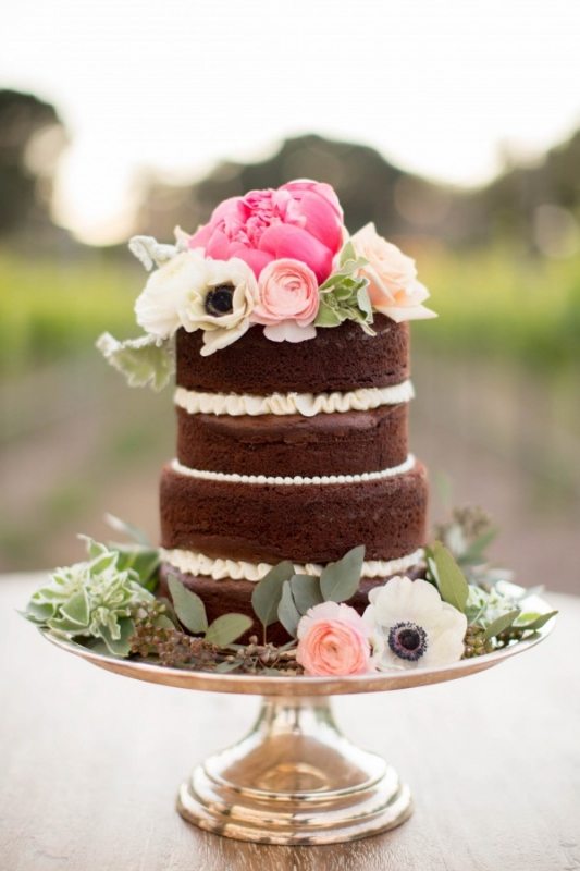 Small Chocolate Naked Wedding Cake Floral