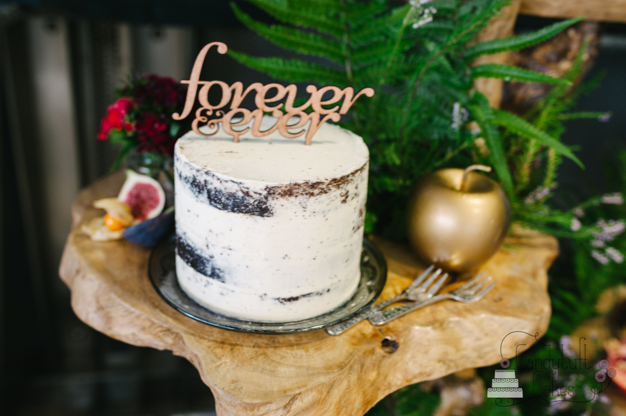 Small Semi Naked Wedding Cake 'Forever&ever' Typography
