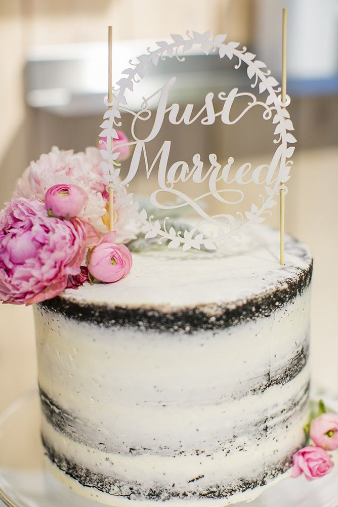 Small Semi Naked Wedding Cake 'Just Married' Typography