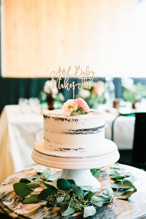 Small Semi Naked Wedding Cake with Typography