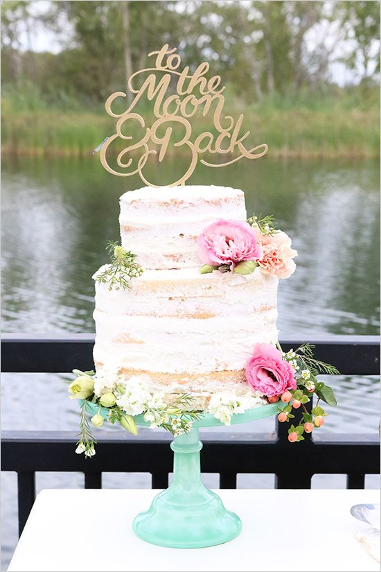 Small Semi Naked Wedding Cake 'Typography&Flowers