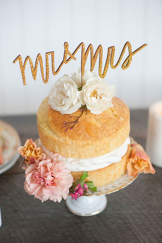 Small Original Naked Wedding Cake With Typography