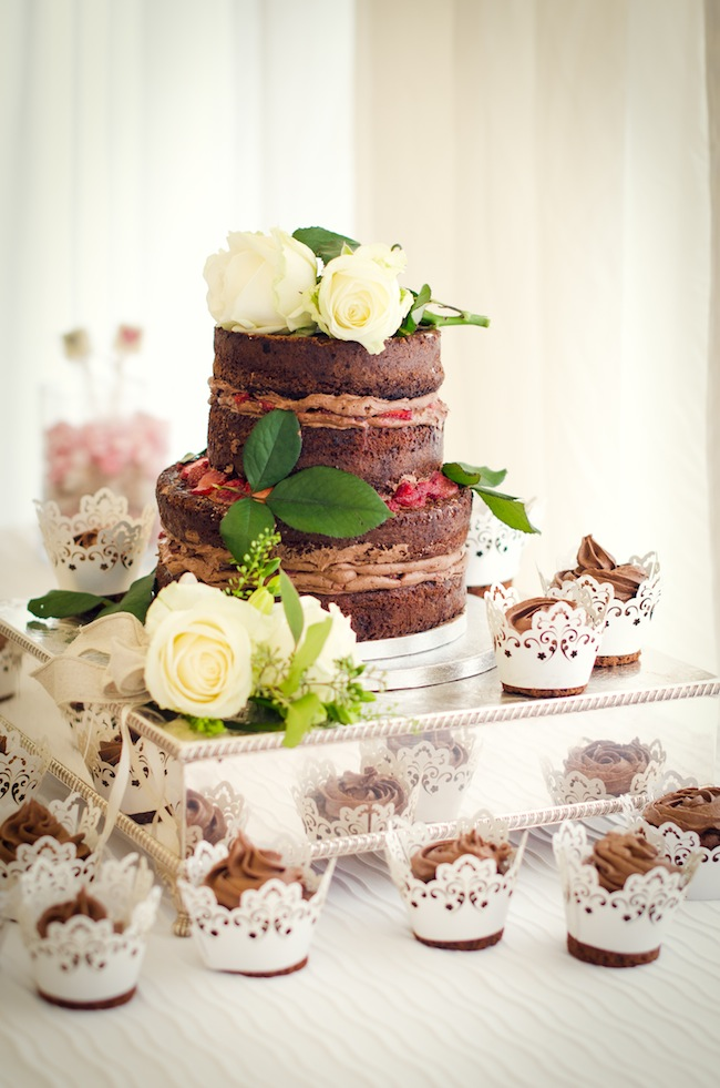 Small Chocolate Naked Wedding Cake With Cupcakes
