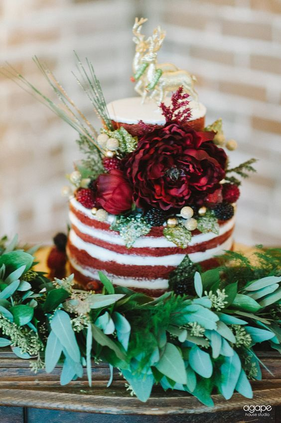Small Red Velvet Naked Cake With Bold Flowers