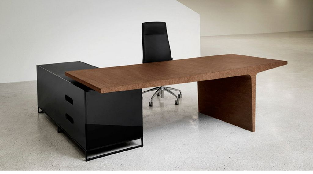 Awesome Office Desk Modern With Fabulous Simple And Unique Office Desk And Cabinet Combined Wood And Black Stainless Also Leatherhead Swivel Office Chair In Cool Office Desks Ideas