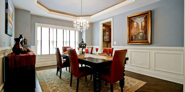 Unique Blue Dining Room With Silvery Blue Walls And Ceiling For The Traditional Dining Room