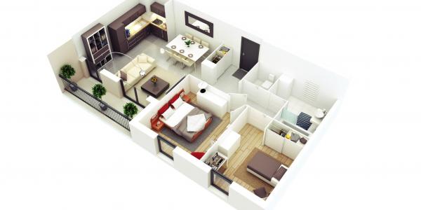 Trend 3d Floor Plan With Small Three Bedroom Ideas