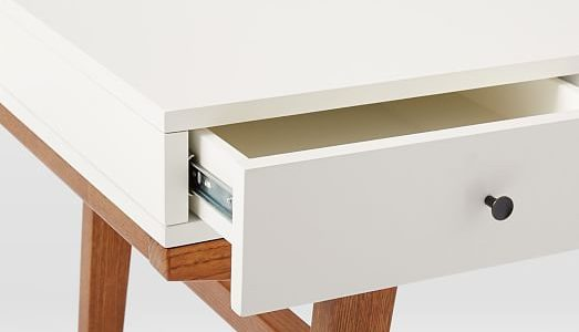 Great Desk Modern With White Lacquer Modern Desk With Pecan Legs C