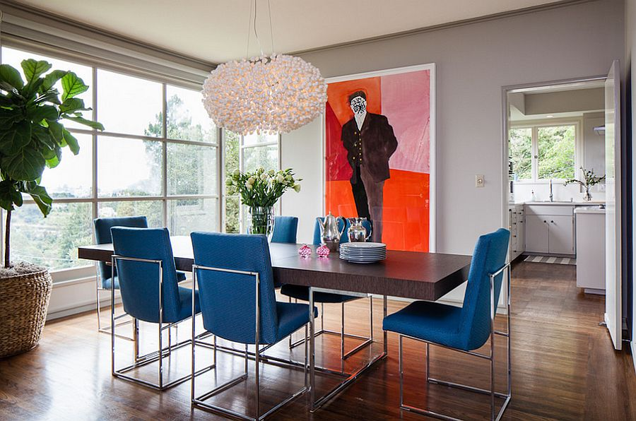 Awesome Blue Dining Room With Dining Table Chairs Bring The Blue ...