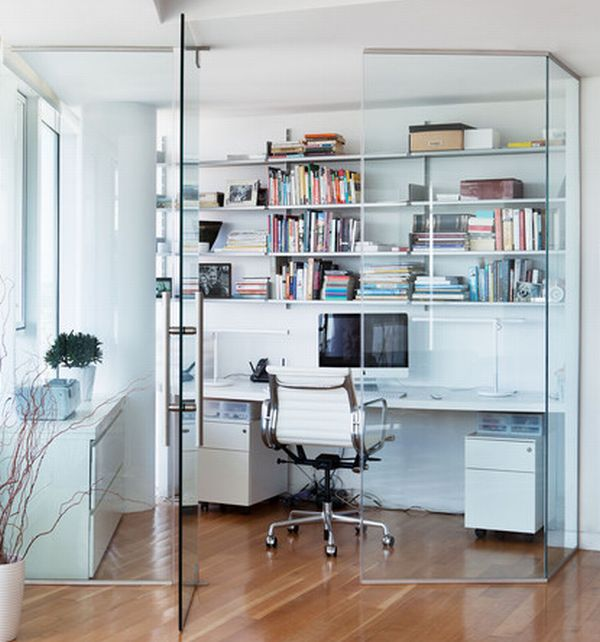 Best Contemporary Home Office Design With Compact Home Office Space Encased  In Glass To Cut Out Noise Outside