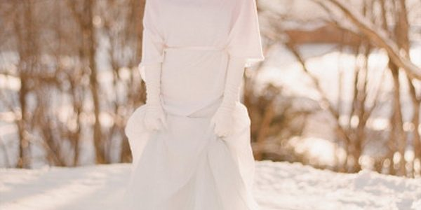 Long Winter Wedding Dress With Capelet