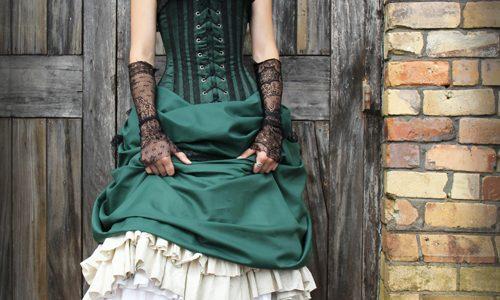 Steampunk Wedding Gown Green White