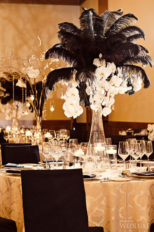 Gold black and feather wedding reception ideas