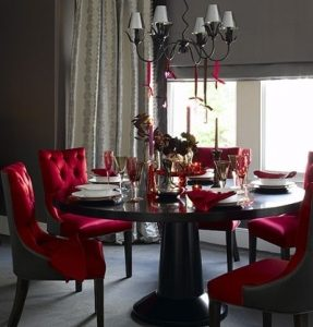 Trend Red Dining Room Chairs With City Chic Luxurious Fabrics For Chairs And Curtains Give This Dining Room A Real Sense Of Grandeur While Glossy Furniture And Colored Glassware Create A Sophisticated Mood Against A Rich Backdrop Of C
